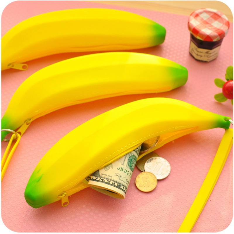 Cute Coin Purse Banana Pencil Case Kawaii Bag Silicone Purse Children's Purses For Kids Yellow Ulrica Coin Bags For Women Funny cute marshmallow style silicone back case for iphone 5 5s yellow white