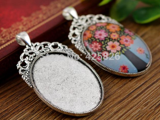 New Fashion 5pcs 30x40mm Inner Size Antique Silver Flowers Style Cabochon Base Setting Charms Pendant (B3-38)