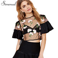 Simenual Mesh see through embroidery flower summer t shirt cover up butterfly sleeve crop top sexy hot t-shirts women out put