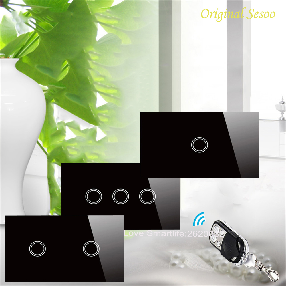 US SESOO Remote Control Switch 1 Gang 2 Gang 3 Gang 1 Way, RF433 Smart Wall Switch,Wireless Remote Control Touch Light Switch 2017 smart home crystal glass panel wall switch wireless remote light switch us 1 gang wall light touch switch with controller