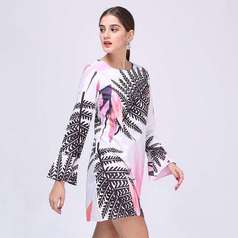 Spring Autumn Oversized Dress Women Flower and Leaves Print Elegant Dress Female Long Sleeve Fashion Short Mini Dresses Vestidos