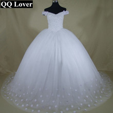 QQ Lover 2017 New Boat-Neck Bling Bling Beaded Flowers Ball Gown Wedding Dress Bridal Gown Robe De Mariage Vestido De Noiva