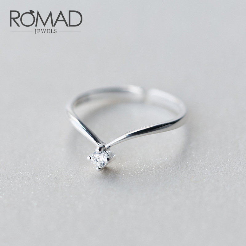 ROMAD 925 Sterling Silver Ring Opening V Shape CZ Ring Korea Fashion Jewelry Party Finger Rings Best Gift For Girl 39 s R4 in Wedding Bands from Jewelry amp Accessories