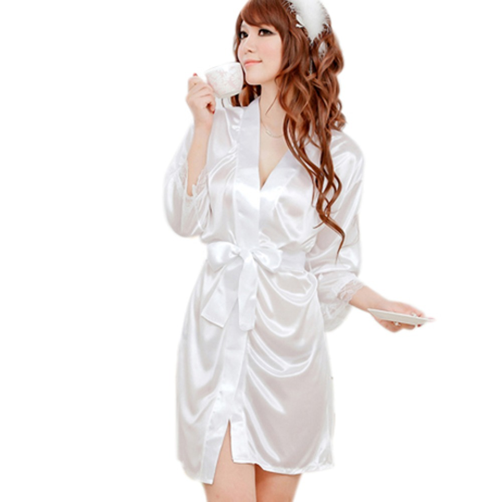 9f96431a59e Women Pajamas Soft Sleepwear Nightwear+G-string Thongs Satin Robe Lace ROBE  Gown