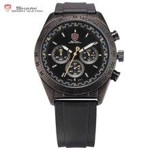 Swell SHARK Reloj Deportivo Negro Complet Taquímetro Bisel 24 Horas Cronógrafo Banda de Caucho Militar Piloto de Coches Reloj de Pulsera para los Hombres/ SH273