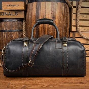 cf9abc31c4fb Сумка из натуральной кожи Для мужчин путешествия вещевой большая сумка из  коровьей кожи мужские дорожные сумки