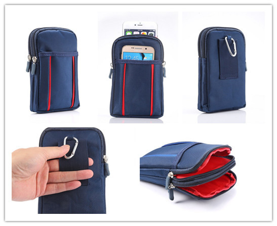 Outdoor 2 Pockets Universal Holster Phone Pouch Bag Wallet Case Belt Clip for Samsung Galaxy S6 S7 Edge S 5 4 Note4 5 3 2 Funda