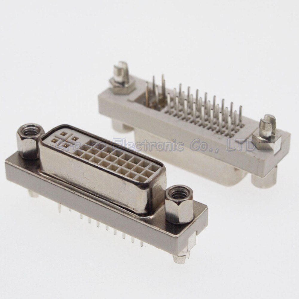 DVI24+5 female socket 180 degree with screws Weld plate type DVI interface