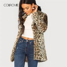 8534eae094fc3 COLROVIE леопарда печати уличная Нечеткие искусственного меха Тедди пальто  Для женщин 2018 Осенняя мода офис теплые зимние элега.