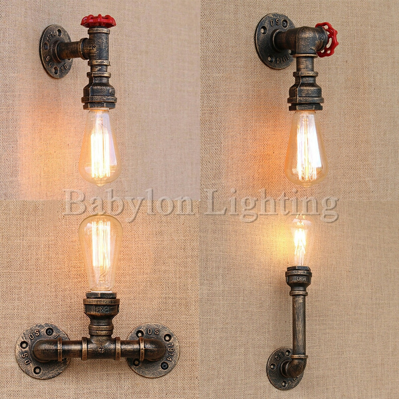 Water Pipe Steam Punk Loft Industrial Iron Rust Retro Wall Lamps Vintage E27 LED <font><b>Sconce</b></font> Wall Lights For Living Room Bedroom Bar