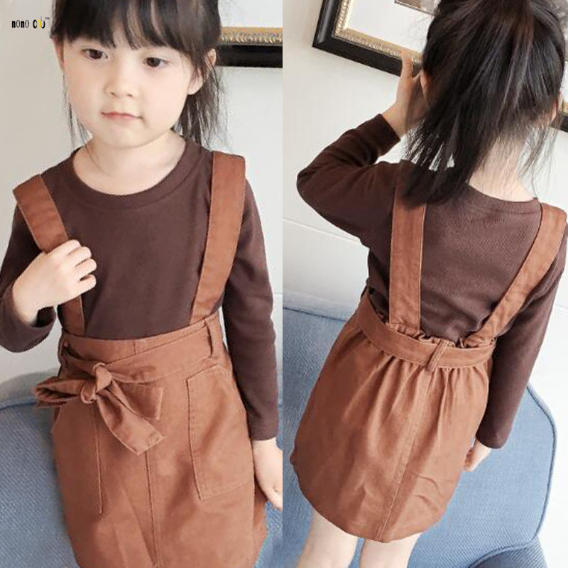 8f70b4f9989 Kids Outfit 2018 Autumn Child Girl Clothes Sets Long Sleeve Casual Two  Piece Top   Sling Dress Girls Clothing 2 3 4 5 6 7 Years-in Clothing Sets  from Mother ...