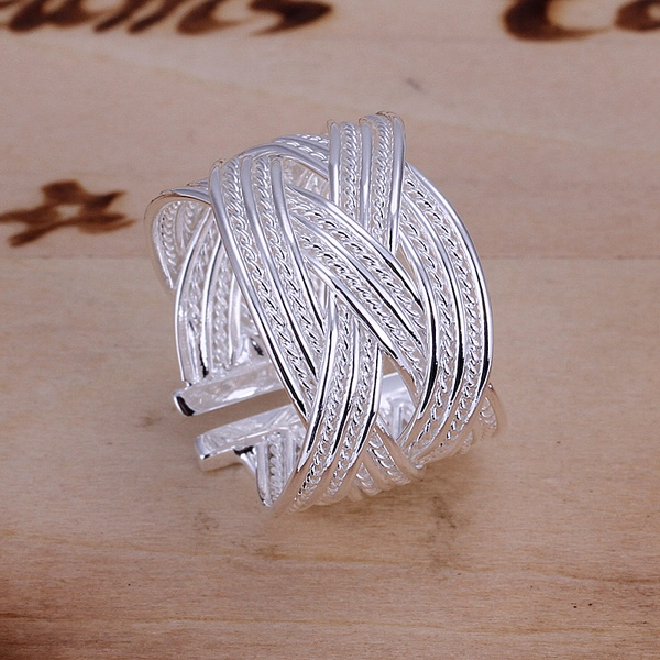 The best gift fashion exquisite women lady geometric open large ring silver color classic models  silver plated jewelry R024