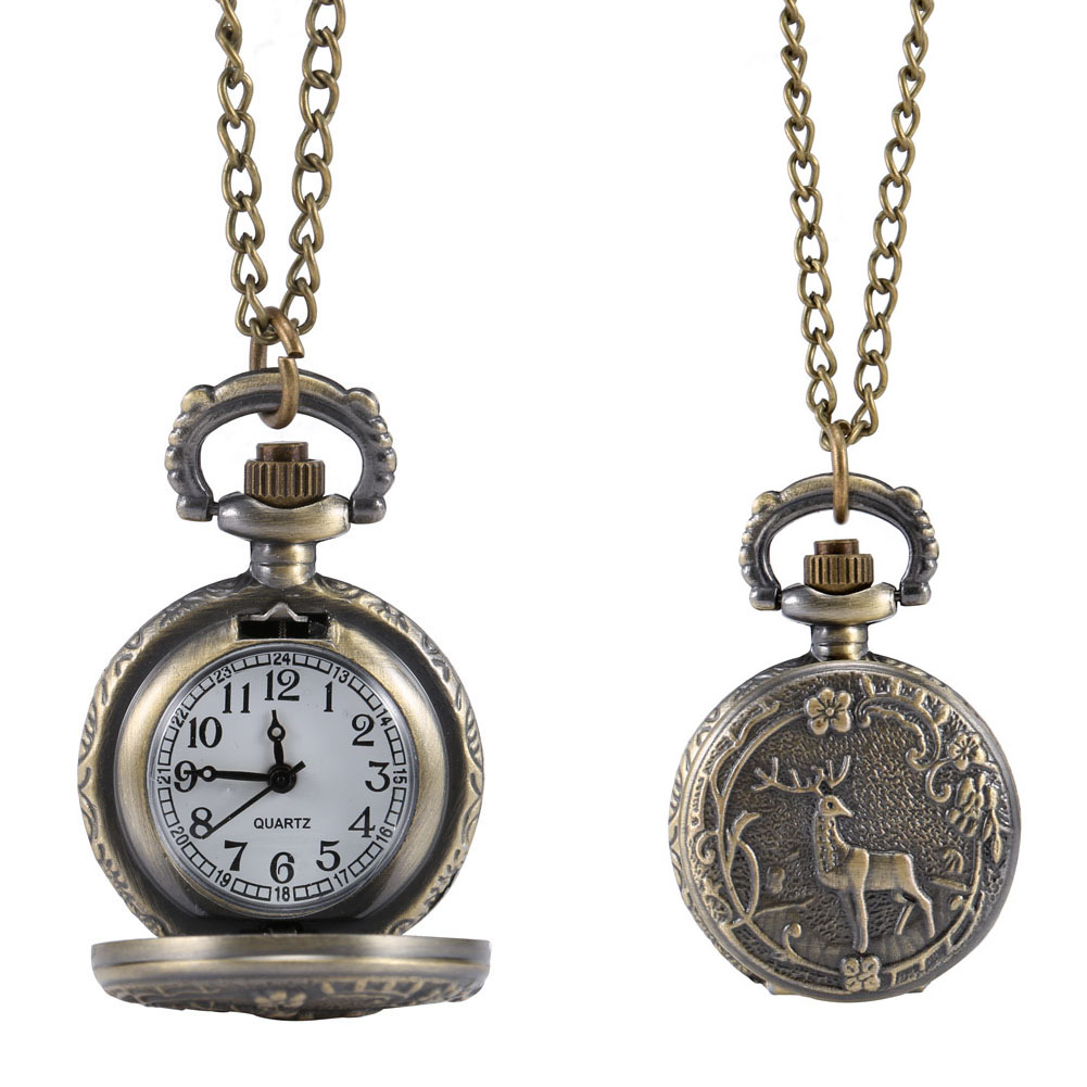 Fashion Vintage Retro Quartz Pocket Watch Alloy Deer Carving Sweater Chain Necklace Pendant Clock Gifts LL@17 otoky montre pocket watch women vintage retro quartz watch men fashion chain necklace pendant fob watches reloj 20 gift 1pc