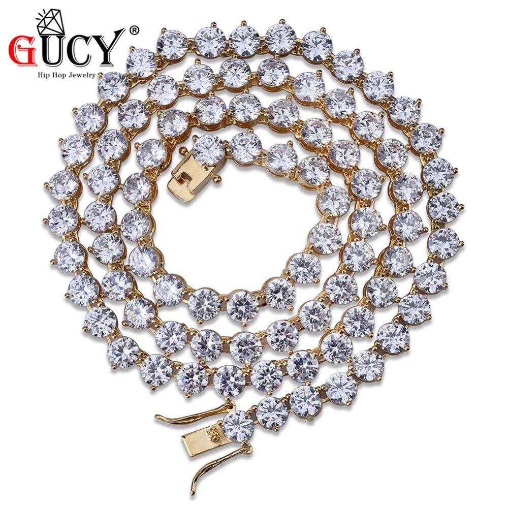 GUCY hommes Hip Hop Bling colliers glacé sur 3 broches chaîne de Tennis 1 rangée 6mm collier couleur argent/or hommes chaîne bijoux de mode