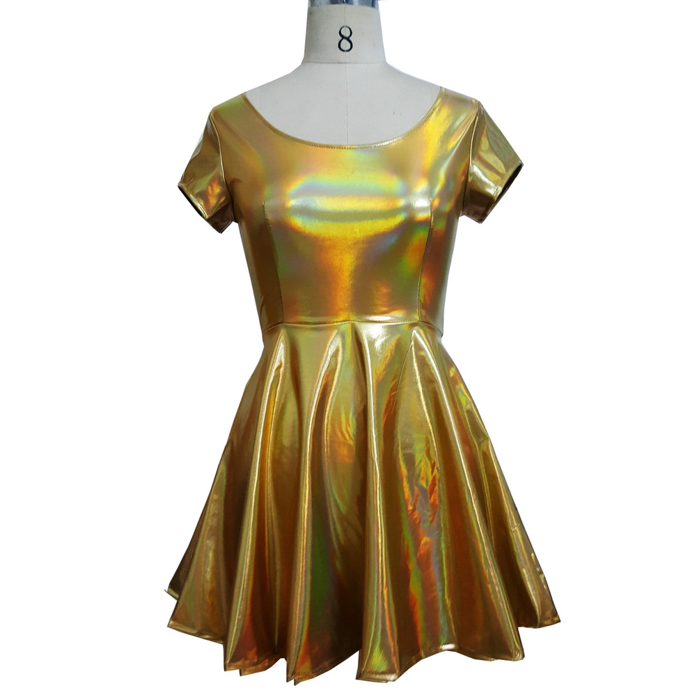 Sommer Holographische Kurzkleid Frauen Music Festival Rave Kleid ...