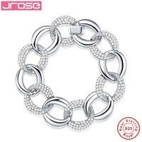 Jrose 100% genuíno, 925 pulseira de prata esterlina, presente de noivado, favorito do sexo feminino, coração oval, coração a coração, branco
