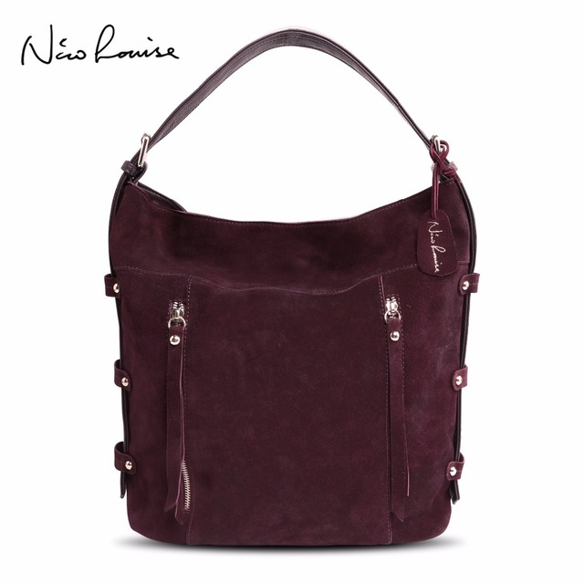 38a032476359 Nico Louise Women Real Split Suede Leather Tote Bag New Leisure Large Top  handle Bags Lady Casual Crossbody Shoulder Handbag -in Shoulder Bags from  ...