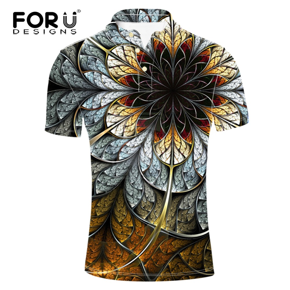 FORUDESIGNS New Brand Clothes Men   Polo   Shirt   Polos   3D Classic Floral Printing Summer Breathable Short Sleeved   Polo   Male Big Size