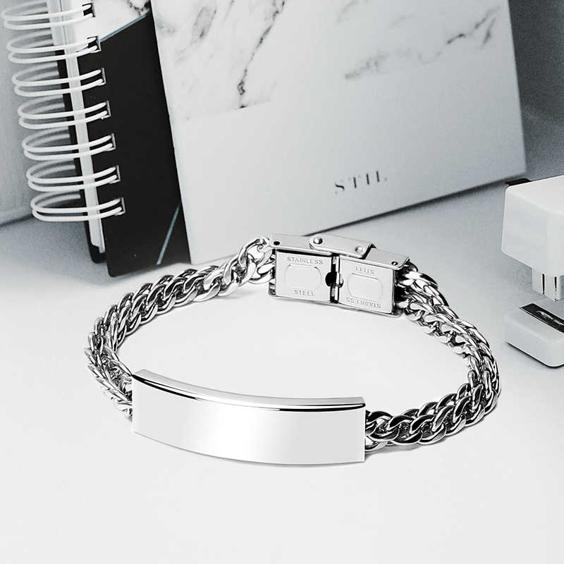 fb343ff917 ... 100% Stainless Steel Blank ID Tags Cuban Bracelets Mens Personalized  Print Name Tube Cable Bangle ...