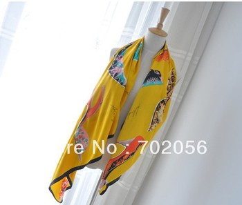 Super Large high-heeled shoes print Satin womens Wrap Scarf Shawl Stole Neckerchief Women 140*130cm 12 pcs/lot #3181