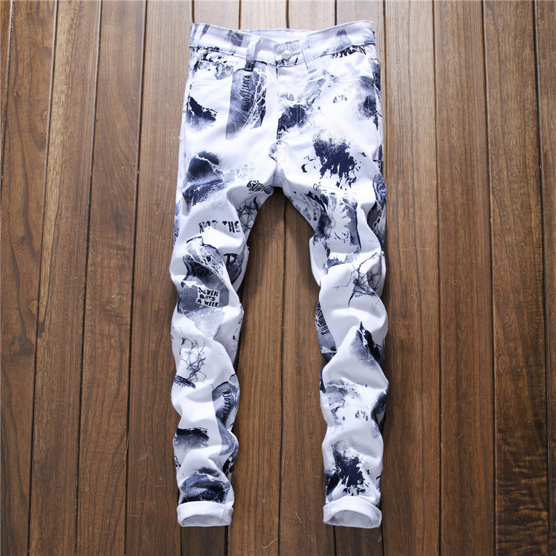 2018 New Hip Hop 3D printed Europeans Style Men Colorful Floral Elastic Skinny Jeans Men Slim Trousers Jeans Homme