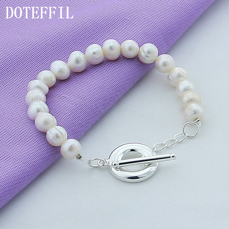 New Girl Real Natural White Freshwater Pearl Bracelet For Women High Quality Female Plated Silver Bracelet Jewelry