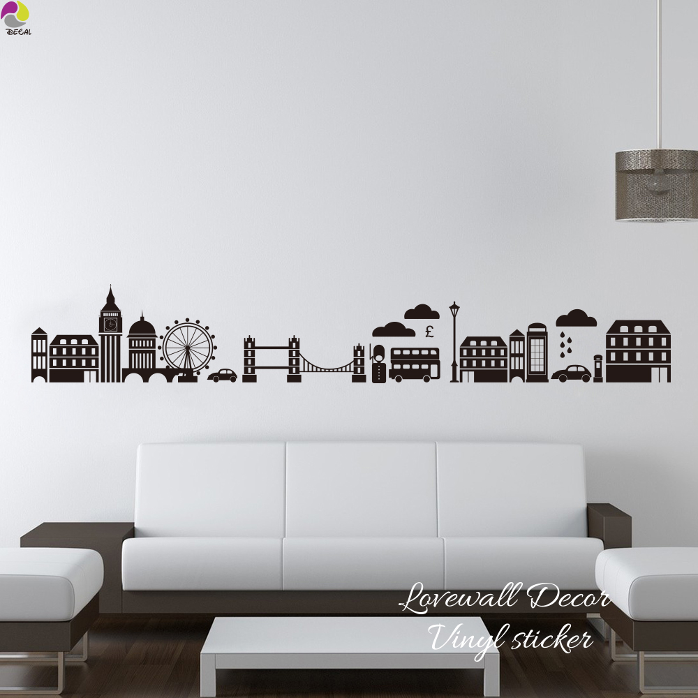 London Skyline Wall Sticker Living Room Sofa London Landmark Wall ...