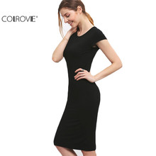 COLROVIE Women Bodycon Dresses Summer Sexy 2018 New Fitness Black Crew Neck Short Sleeve Sheath Slim Knee Length Dress