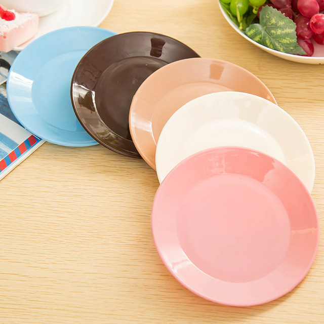 6Pcs Solid Color White Light Party Plate Snacks Melamine Plates Birthday Supplies Clean Favors Food Place & 6Pcs Solid Color White Light Party Plate Snacks Melamine Plates ...