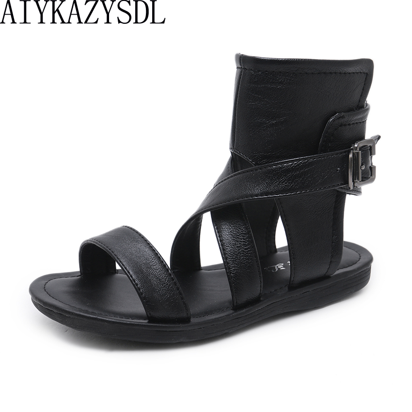 Aiykazysdl Women Comfort Flat Heel Sandals Open Toe Summer Bootie Ankle Boots Cross Strap Rome Gladiator Sandals Gothic Shoes aiykazysdl sexy 2018 women sandals