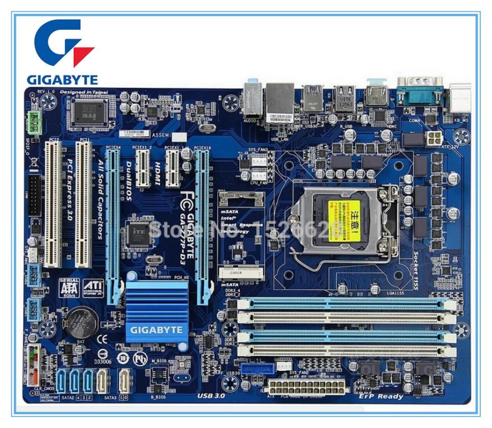 Gigabyte Оригинал материнская плата для GA-Z77P-D3 DDR3 LGA1155 доски USB3.0 32 ГБ Z77P-D3 Z77 рабочего Материнская плата