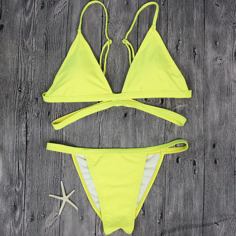 a6050e635f Sunyokini Newest Sexy Bikini Cross Swimwear Woman Thong Swimsuit Micro Suits  Yellow Bathing Suit Hot Design