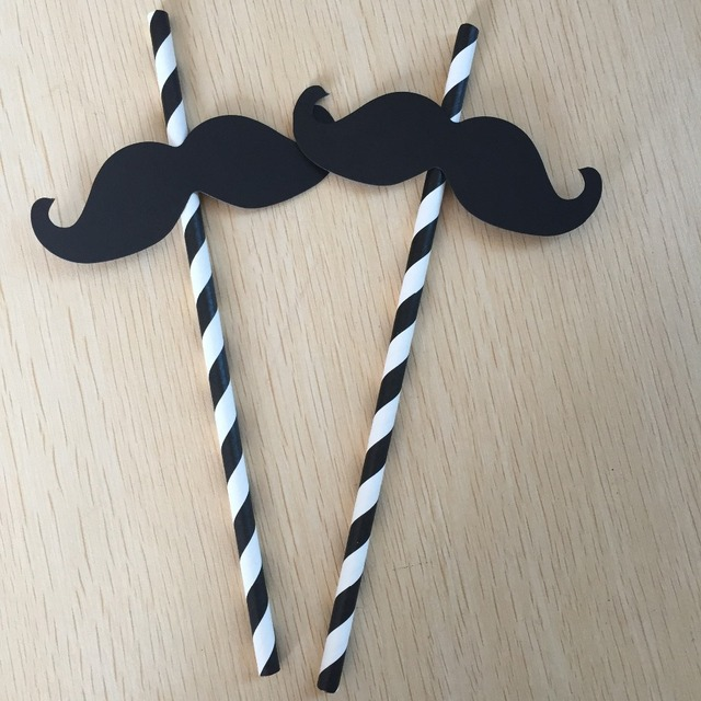 Wedding Decoration 25pieces Black Little Man Mustache Straw Kit BOY BABYSHOWER Mans Birthday Boys