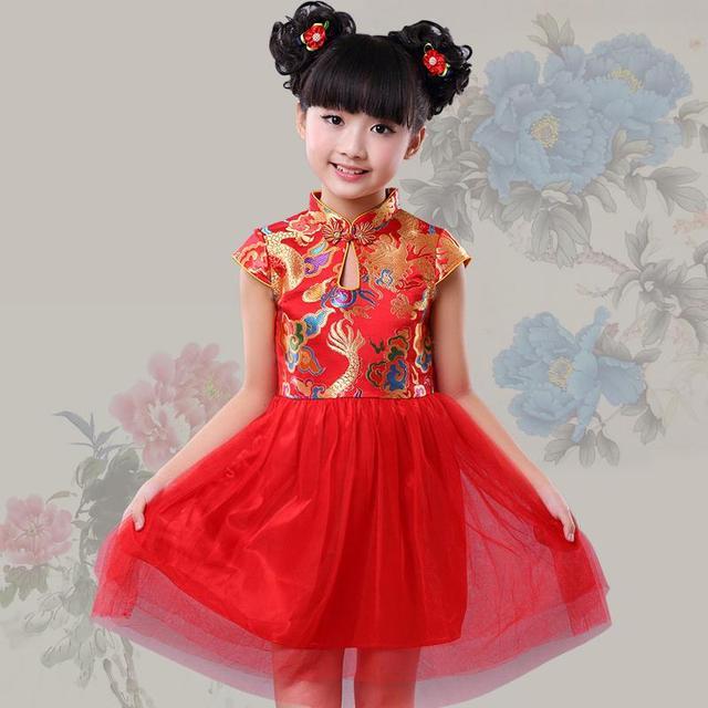 Nuevo rojo estilo chino traje tradicional vestido niños niña vestido  cheongsam qipao vestido del cumpleaños del ed793cdc03c