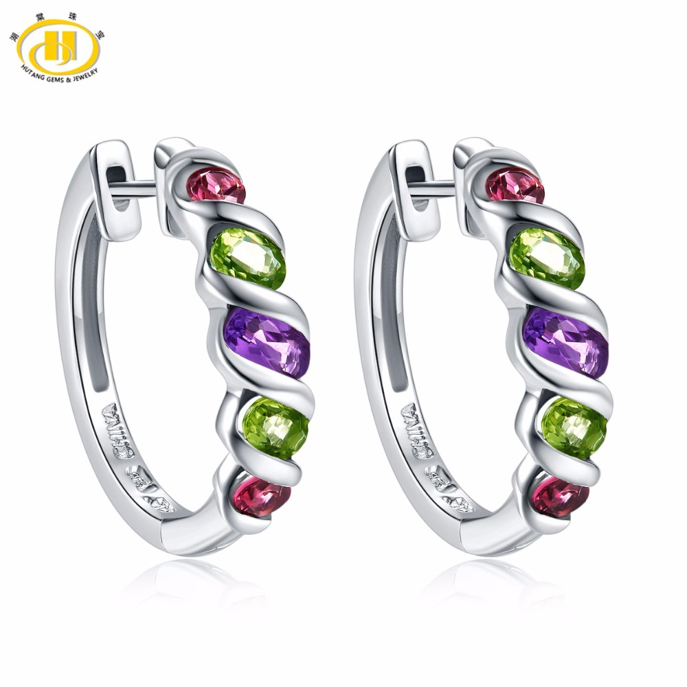 Hutang Multi Stone Clip Earrings Natural Gemstone Amethyst Peridot Garnet 925 Sterling Silver Fine Jewelry for Women Girls Gift