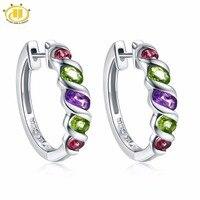 Hutang Multi Stone Clip Earrings Natural Gemstone Amethyst Peridot Garnet 925 Sterling Silver Fine Jewelry for Women Girls Gift