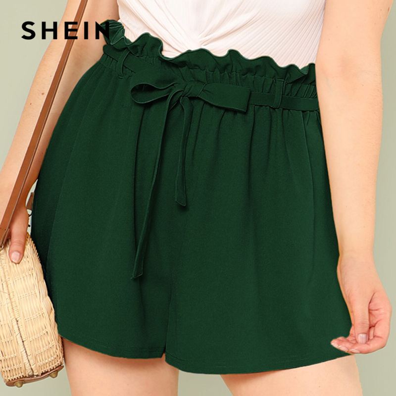 SHEIN Plus Size Solid Paperbag Waist Shorts 2019 Women Summer Elegant Loose Pleated Officcewear Wide Leg Shorts With Belt 2