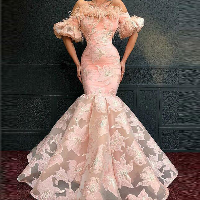 Evening Dresses Jewel Lace Floor Length Abendkleider Pink Mermaid Prom Dresses Half Sleeves Applique Party Dress Vestidos Largos