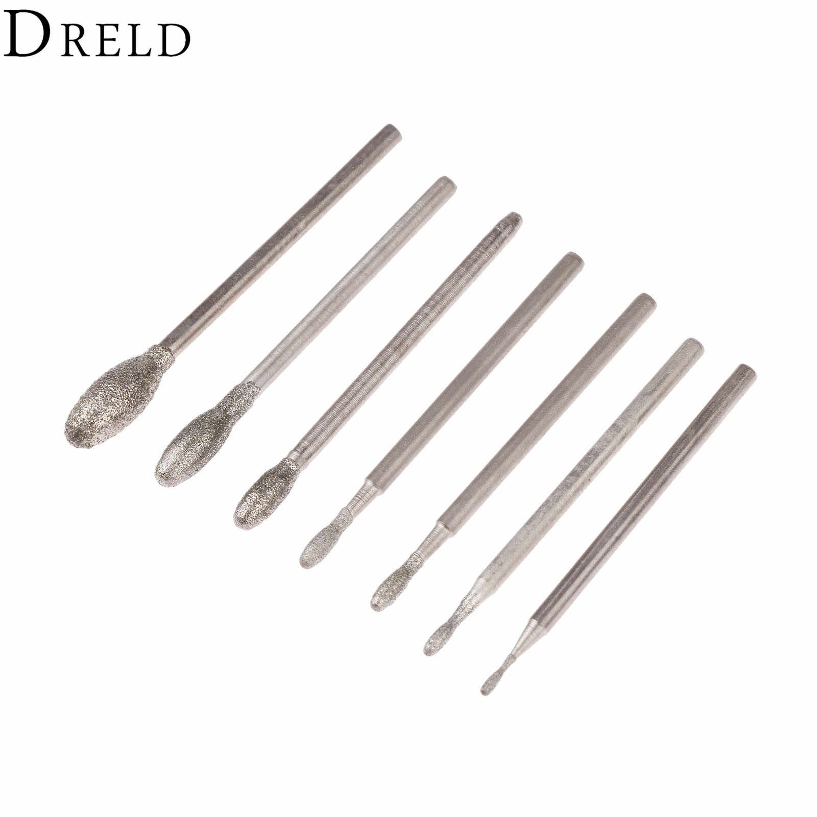 Dreld 7 Pcs Body Accesories Oval Berlian Grinding Kepala Duri Bit 2.35 Mm Shank Jade Batu Polishing Engraving Alat