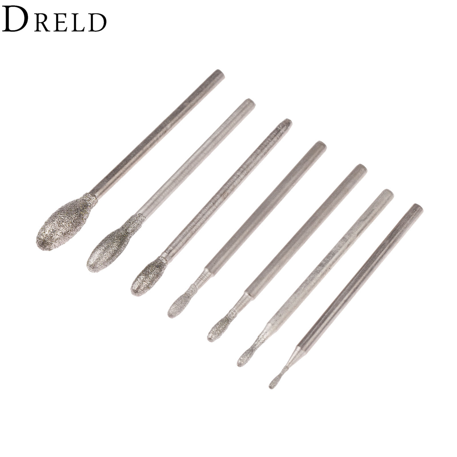 DRELD 7Pcs Dremel Accesories Oval Diamond Grinding Head Burrs Bits 2.35mm Shank Jade Stone Carving Polishing Engraving Tool