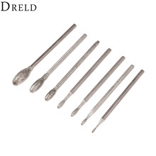 DRELD 7Pcs Dremel Accesories Oval Diamond Grinding Head Burrs Bits 2.35mm Shank Jade Stone Carving Polishing Engraving Tool