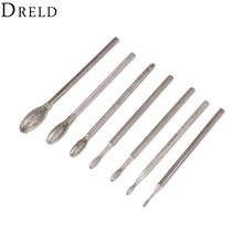 DRELD 7Pcs Dremel פילטרים סגלגל יהלום שחיקה ראש Bits הקוצים 2.35mm שוק ירקן אבן גילוף ליטוש חריטת כלי