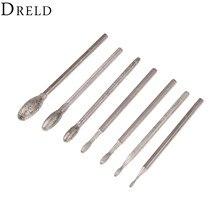Dreld 7Pcs Dremel Accessoires Ovale Diamant Slijpen Kop Bramen Bits 2.35Mm Schacht Jade Steenhouwen Polijsten Graveren Tool