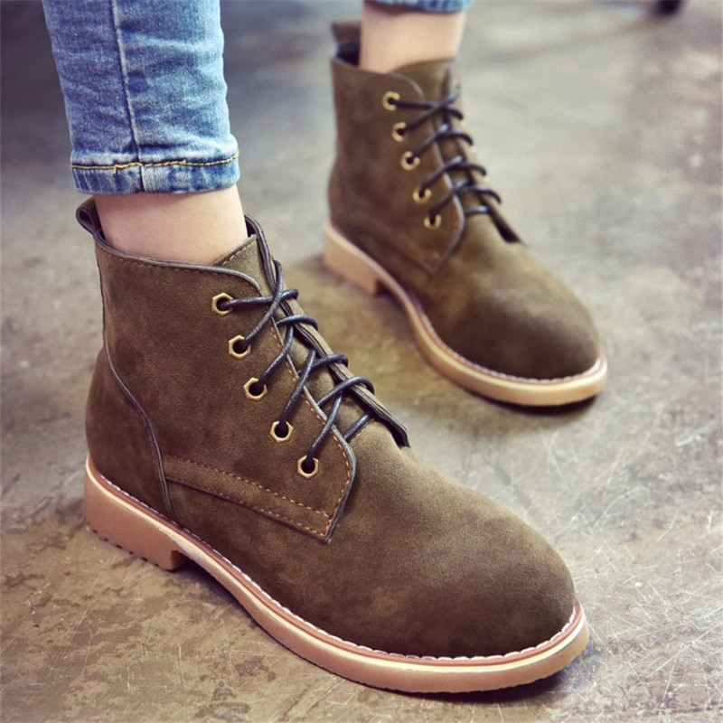 Brand Fashion Women Ankle Boots Flat Heels Lace up Casual Shoes Woman  Oxfords Black Green Brown Autumn Suede Bootsin Ankle Boots from Shoes on