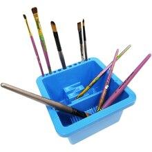 Синий двойной отсек 12 отверстие многофункциональная пластиковая щетка шайба коробка легкая чистка сушка для акриловой и акварельной живописи