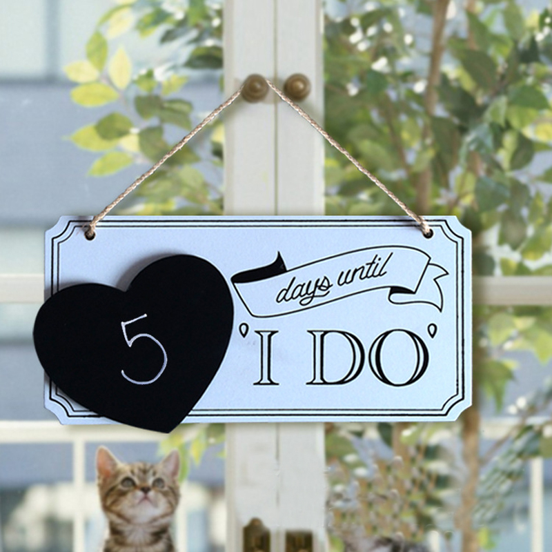 Wedding Countdown Wooden Days Until I Do With Mini Love Heart Blackboard Wedding P O Props Wedding Backdrops Sign In Figurines Miniatures From Home