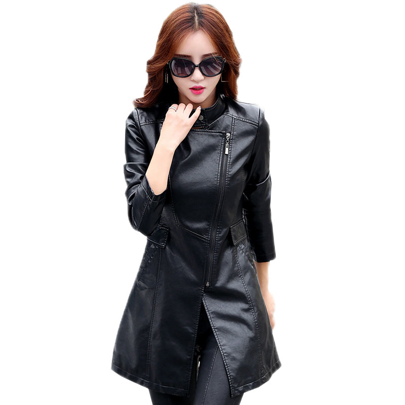 New Autumn Winter Women Slim Moto   Leather   Jacket Ladies Faux PU Outwear Female Mid-Long   Leather   Trench Coat Plus Size M-5XL O451