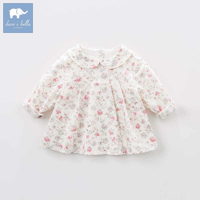 DB8701 dave bella/Весенняя рубашка с цветочным рисунком для маленьких девочек, милые детские хлопковые топы, Детские Блузки высокого качества