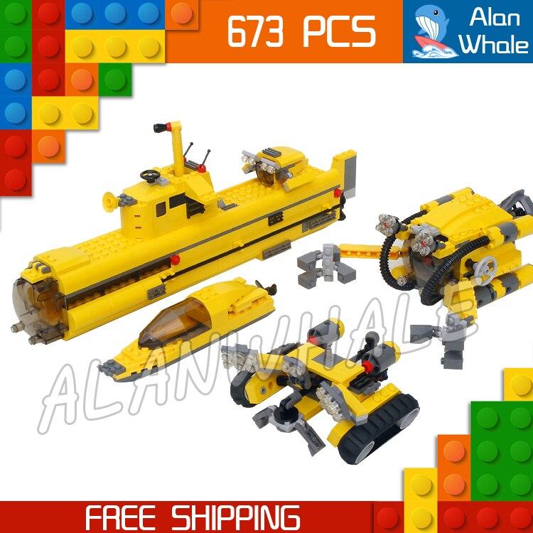 673 pièces créateur Designer ensemble océan Odyssey sous-marin étage chenille 24012 Figure blocs de construction jouets compatibles avec LegoING