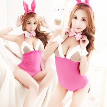 Erotic Women Sexy Lingerie Cut Rabbit Pink Lingerie Seducing Sex Party SM Costume Lady Sex Slave Teddy Exotic